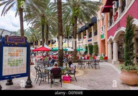 Bars and Restaurants in Cityplace, South Rosemary Avenue, West Palm Beach, Florida, USA - Stock Photo