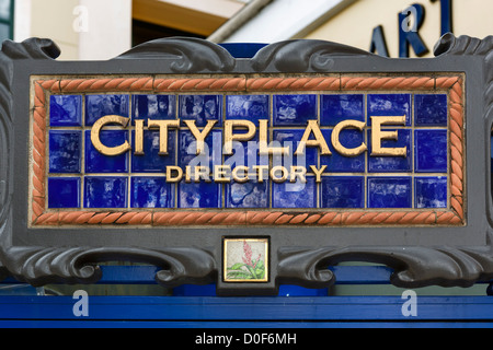 Directory sign for the Cityplace development, South Rosemary Avenue, West Palm Beach, Treasure Coast, Florida, USA - Stock Photo