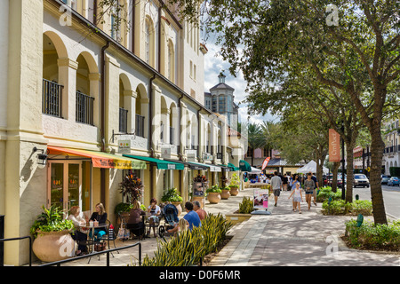 Cafe and shops alongside the Harriet Himmel Theater, Cityplace, South Rosemary Avenue, West Palm Beach, Florida, - Stock Photo