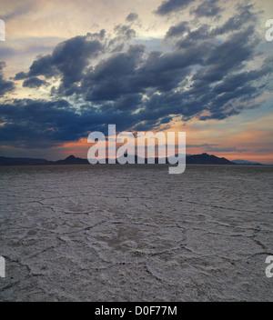 Bonneville salt flats near sunset with dramatic clouds - Stock Photo