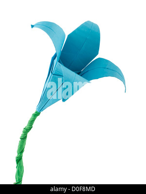 Blue Flower origami white isolated. Paper made flowers. - Stock Photo