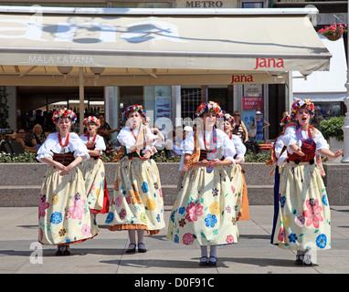 Polish folk dance girls at Ban Jelacic square in Zagreb Croatia - Stock Photo