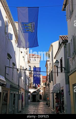 Street in Rab town, Island of Rab, Croatia - Stock Photo