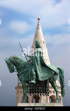 St Stephen's (Hungarian: Szent Istvan) equestrian statue, next to the Fishermen's Bastion in Budapest, Hungary. - Stock Photo