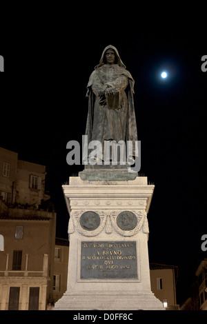 Monument to Giordano Bruno in Campo dei Fiori in Rome - Stock Photo