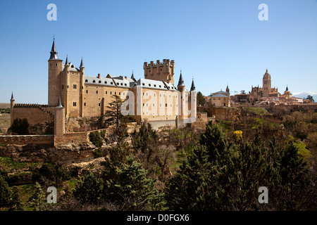 Alcazar and cathedral Segovia Castilla Leon Spain Alcazar y catedral Segovia Castilla Leon España - Stock Photo