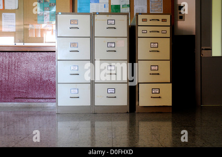 English department metal file cabinets languages school - Stock Photo