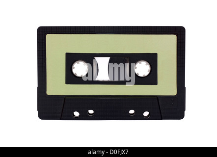 Green - Black Compact Cassette isolated on white - Stock Photo