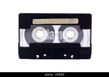 Black-transparent Compact Cassette isolated on white - Stock Photo