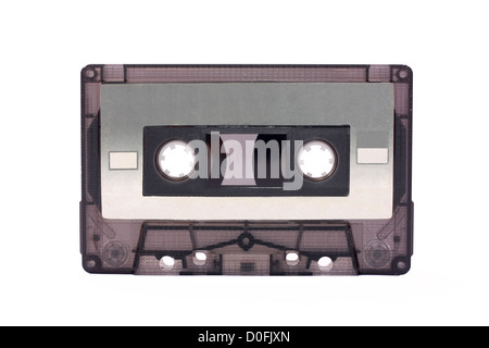 Gray-transparent Compact Cassette isolated on white - Stock Photo