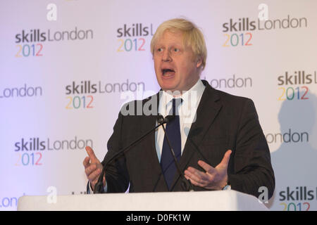 London, England, UK. Friday, 23 November 2012. London Mayor Boris Johnson opens the Skills London 2012 interactive - Stock Photo