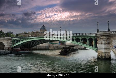 The bridge Pont Notre Dame over river Seine in Paris, France. - Stock Photo