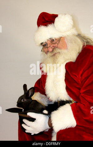 Santa Claus holding a black bunny rabbit in a cowboy hat - Stock Photo