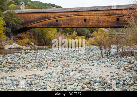 Bridgeport Covered Bridge over the South Yuba River in the South Yuba River State Park, California. - Stock Photo