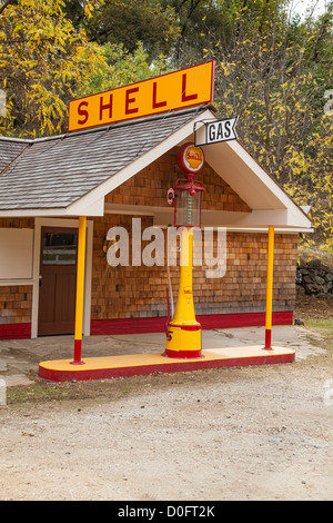 Restored old time Shell gasoline station in South Yuba River State Park, California. - Stock Photo