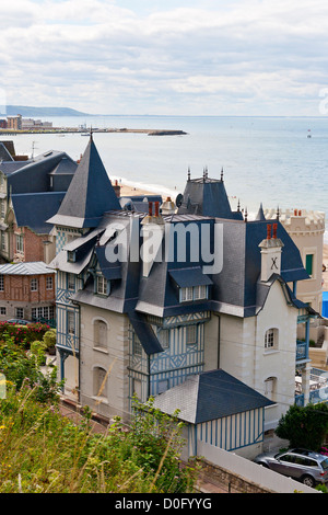 Typical neonormand style houses in Trouville-sur-Mer, normandy, France - Stock Photo