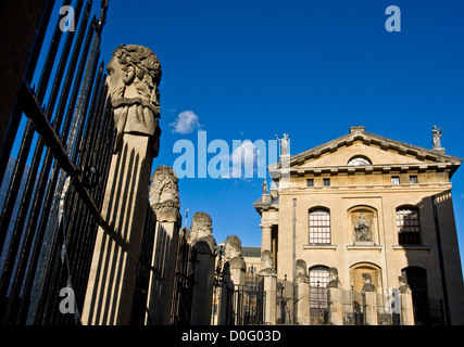 Clarendon building and line of statues outside Sheldonian Theatre Oxford Oxfordshire England Europe - Stock Photo