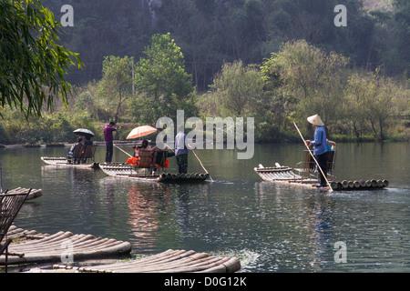 China Guangxi Yangshuo, Yulong river rafting - Stock Photo