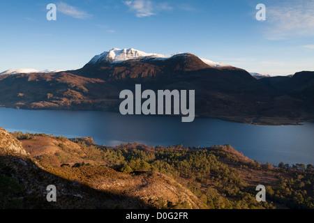 Slioch and Loch Maree, North West Highlands, Scotland, UK - Stock Photo