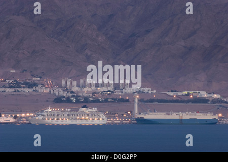 Residential cruise ship MS 'The World' moored at the port of Aqaba, Jordan - Stock Photo