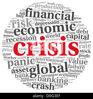 Crisis concept in info-test grapthics on white background - Stock Photo