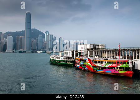 Colorful Hong Kong star ferry at berth, Kowloon, Hong Kong, China - Stock Photo