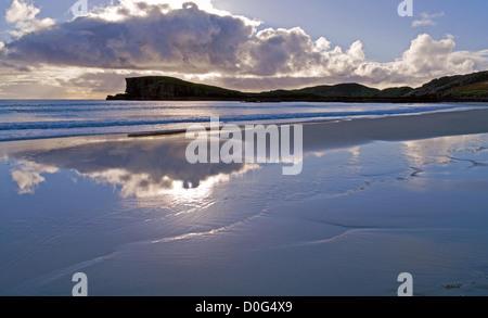 Sky reflected in wet sand, evening, Oldshoremore beach, near Kinlochbervie, Sutherland, Northwest Highlands, Scotland, UK