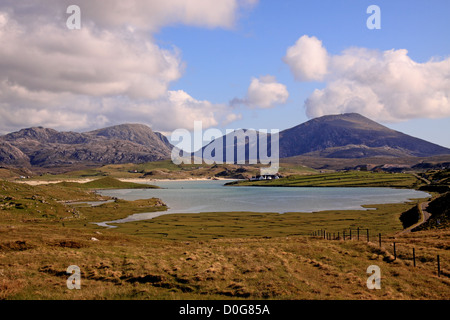 UK Scotland Outer Hebrides Western Isles Isle of Lewis Uig Sands and the Harris Mountains - Stock Photo