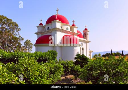 Greek Ortodox Church of the Seven Apostles in Capernaum. Israel - Stock Photo