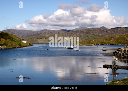 UK Scotland Western Isles Outer Hebrides Isle of Harris from the island of Scalpay - Stock Photo