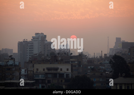Sunset over downtown Cairo, Egypt. - Stock Photo