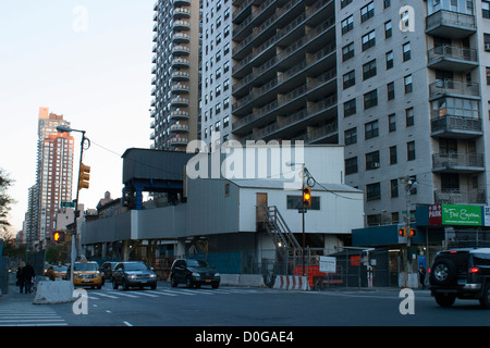 The new 2nd Avenue subway is under construction at 86th Street in New York City. Looking north. - Stock Photo