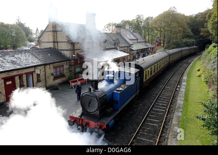 The Lakeside and Haverthwaite Railway on the southern bank of Lake Windermere. - Stock Photo