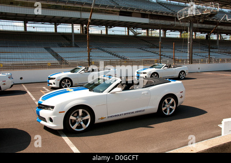 USA, Indiana, Indianapolis Motor Speedway, pace cars during off season scene of the annual Indy 500 car race. - Stock Photo
