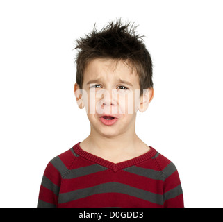 Whiny little boy close up. White isolated crying child - Stock Photo