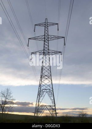 A electrical power Transmission Tower or Pylon National Grid type L2 twin circuit tower with double conductors at - Stock Photo