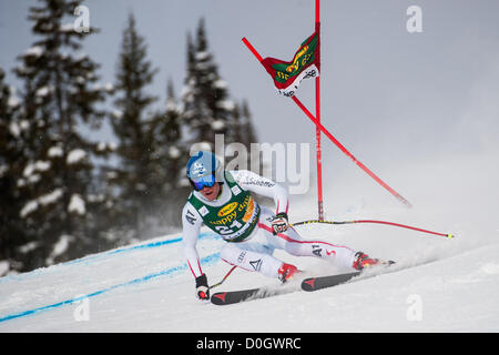 LAKE LOUISE, CANADA - NOVEMBER 25: Benjamin Raich of Austria   races down the course whilst competing in the Audi - Stock Photo