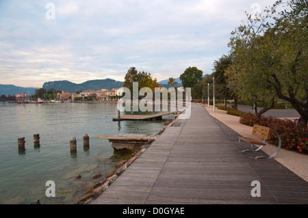 Lakeside promenade during autumn Bardelino town Lago di Garda the Garda Lake the Veneto region Italy Europe - Stock Photo