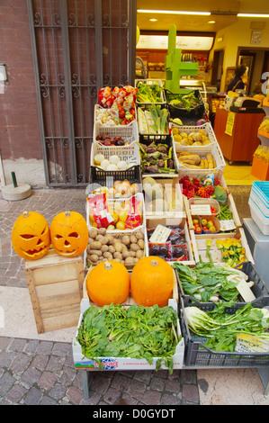 Food shop Bardelino town Lago di Garda the Garda Lake the Veneto region Italy Europe - Stock Photo