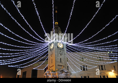 Christmas lights decorations around the clock tower in Brighton city centre UK - Stock Photo
