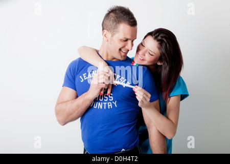 couple,pregnancy test - Stock Photo