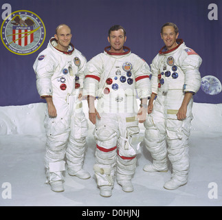 The prime of the Apollo 16 lunar landing mission. From left to right: Thomas K. Mattingly II, Command Module pilot; - Stock Photo