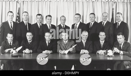 Astronaut Groups 1 and 2. The original seven Mercury astronauts selected by NASA in April 1959, are seated (left - Stock Photo