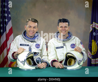 The original Gemini 9 prime crew, astronauts Elliot M. See Jr. (left), command pilot, and Charles A. Bassett II, - Stock Photo