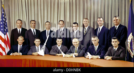 Astronaut Group Three announced on October 18, 1963. They are (seated, left to right) Edwin E. Aldrin Jr., William - Stock Photo
