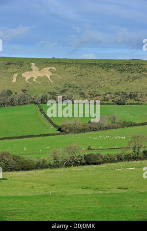 Osmington White Horse, hill figure of George III sculpted into limestone hill, Jurassic Coast, Dorset, southern - Stock Photo