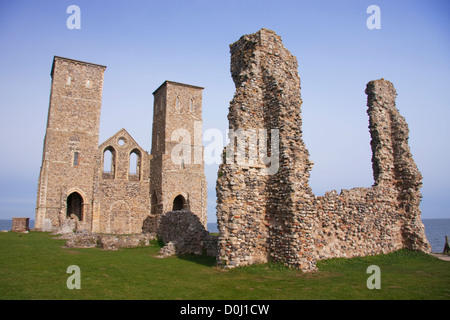 The Reculver Towers on the north coast of Kent. - Stock Photo