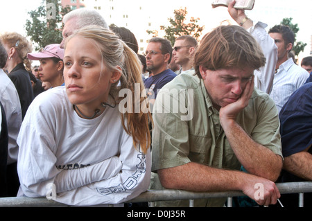 New Yorkers gather at Ground Zero to pause for a moment of silence on the second anniversary of the World Trade - Stock Photo