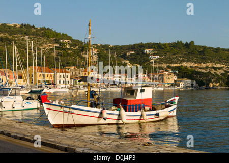 Fishing boat moored at Gaios harbour Paxos, Greece - Stock Photo