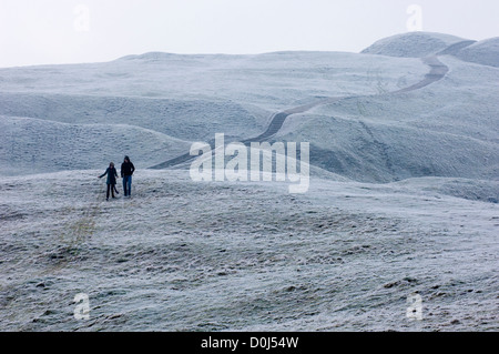 People out walking in the Malvern Hills. - Stock Photo